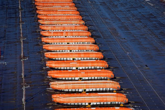 Airplane fuselages bound for Boeing's 737 Max production facility sit in storage at their top supplier,...