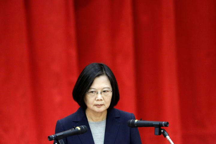 Taiwan President Tsai Ing-wen speaking during a graduation ceremony for Investigation Bureau agents in New Taipei City, Taiwa