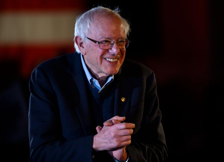 Sen. Bernie Sanders (I-Vt.) leaves the stage after speaking at a New Year's Eve campaign event in Des Moines, Iowa. His fundr