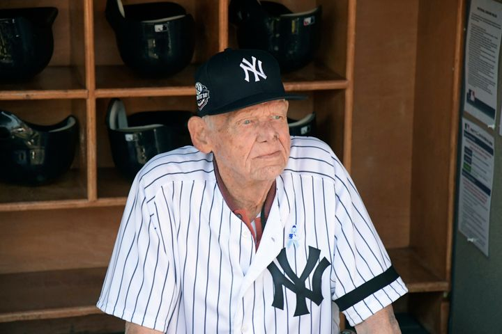 New York Yankees' pitcher Don Larsen in 2018. He died on Wednesday at the age of 90.