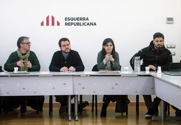 La portavoz de ERC, Marta Vilalta, el presidente del Consell Nacional, Josep Maria Jové, el coordinador...