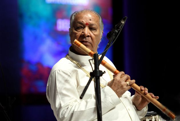Pandit Hariprasad Chaurasia performs during the Art and Artistes 'Panchtatva' musical extravaganza in...