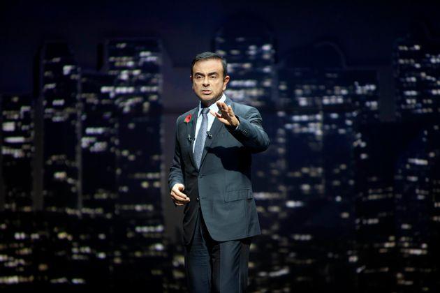 Carlos Ghosn lors d'une présentation de véhicule