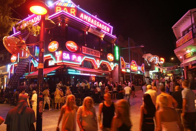 One of the main strips in Ayia Napa, Cyprus. (Stock