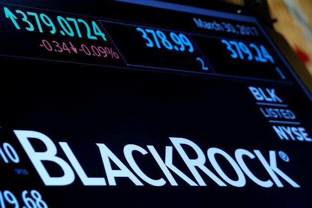Logo de la société américaine BlackRock à Wall Street