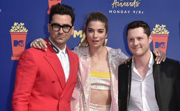 Daniel Levy, Annie Murphy and Noah Reid attend the 2019 MTV Movie & TV Awards on June 15, 2019.