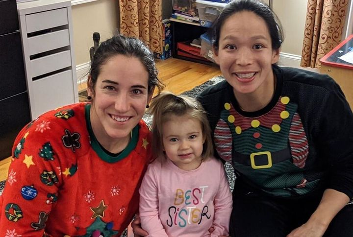 """Caroline Ouellette and Julie Chu have announced they're expecting a second child.Their two-year-old daughter Livis already showing off a """"Best Sister"""" shirt."""
