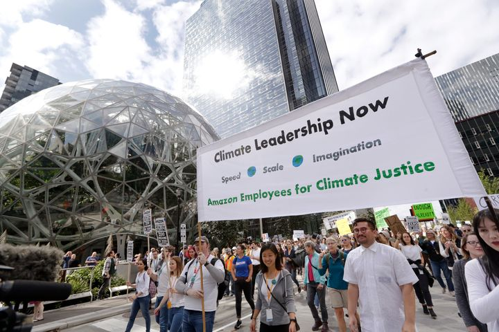 Amazon employees lead a climate strike march from the company's Seattle headquarters on Sept. 20, 2019. Across the globe, hun