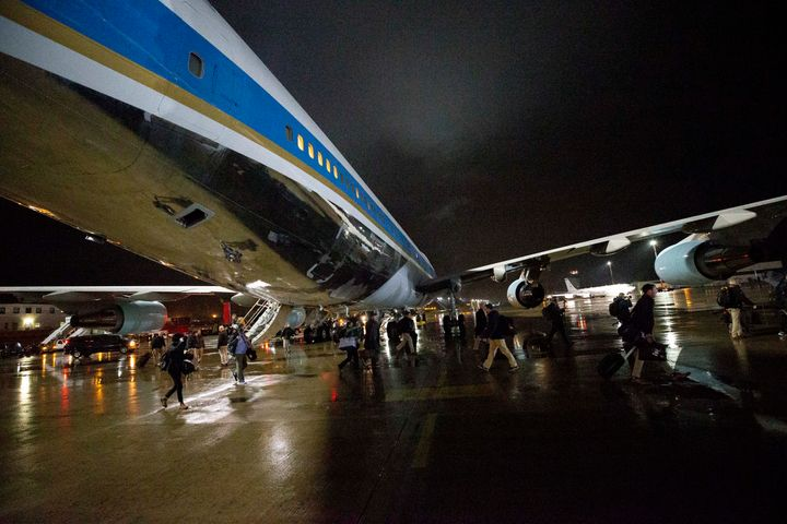 White House staff, Secret Service agents and reporters swap planes to a waiting Air Force One on Nov. 29, 2019, at Ramstein A