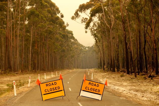 MALLACOOTA, AUSTRALIA - JANUARY 02: Roadblocks are seen in place outside the town of Orbost in eastern...