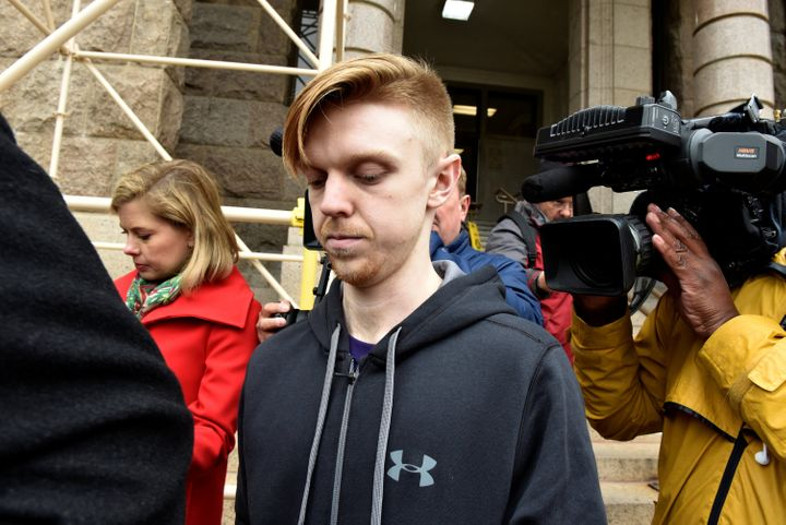 Ethan Couch is seen surrounded by members of the press after being released jail in April 2018.