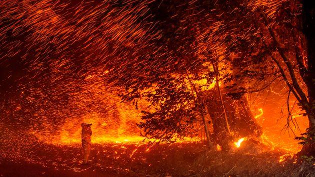 캘리포니아 킨케이드 산불 현장에서 불꽃과 잉걸이 바람에 날리는 장면을 촬영 중인 사진가.