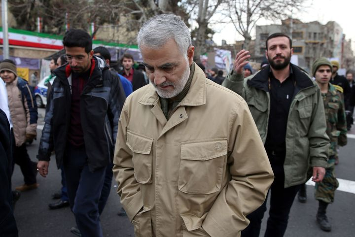 Gen. Qassem Soleimani attends celebrations marking the 37th anniversary of the Islamic revolution in 2016 in Tehran.