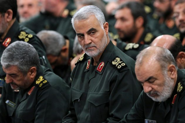 Revolutionary Guard Gen. Qassem Soleimani, center, in 2016. He was assassinated early Friday by a U.S.