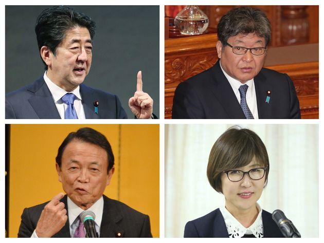 安倍晋三首相(左上)、萩生田光一氏(右上)、麻生太郎氏(左下)、稲田朋美氏(右下)