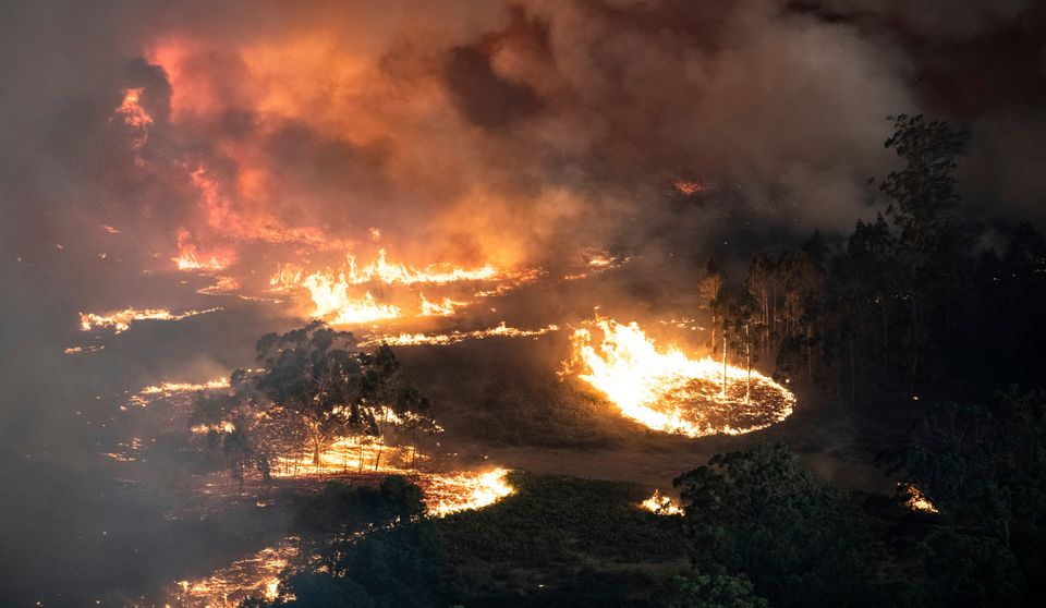 Wildfires burning across Australia's two most-populous states trapped residents of a seaside town in apocalyptic conditions o