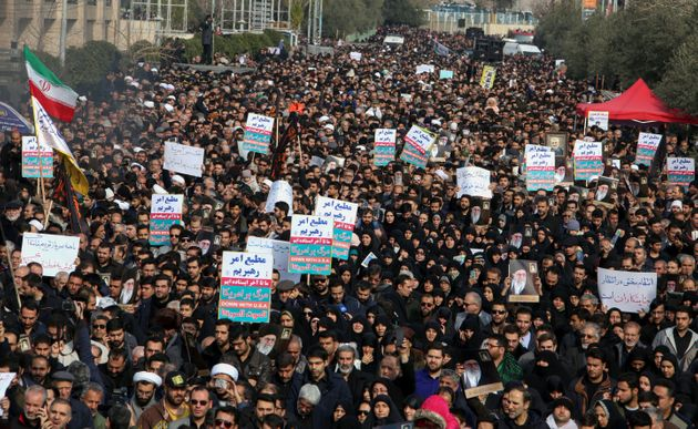 Iranians hold anti-US banners during a demonstration in the capital