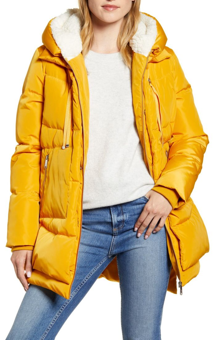 Sam Edelman's winter coat. There's nothing like a marigold-colored coat to brighten the most dreary of winter days.