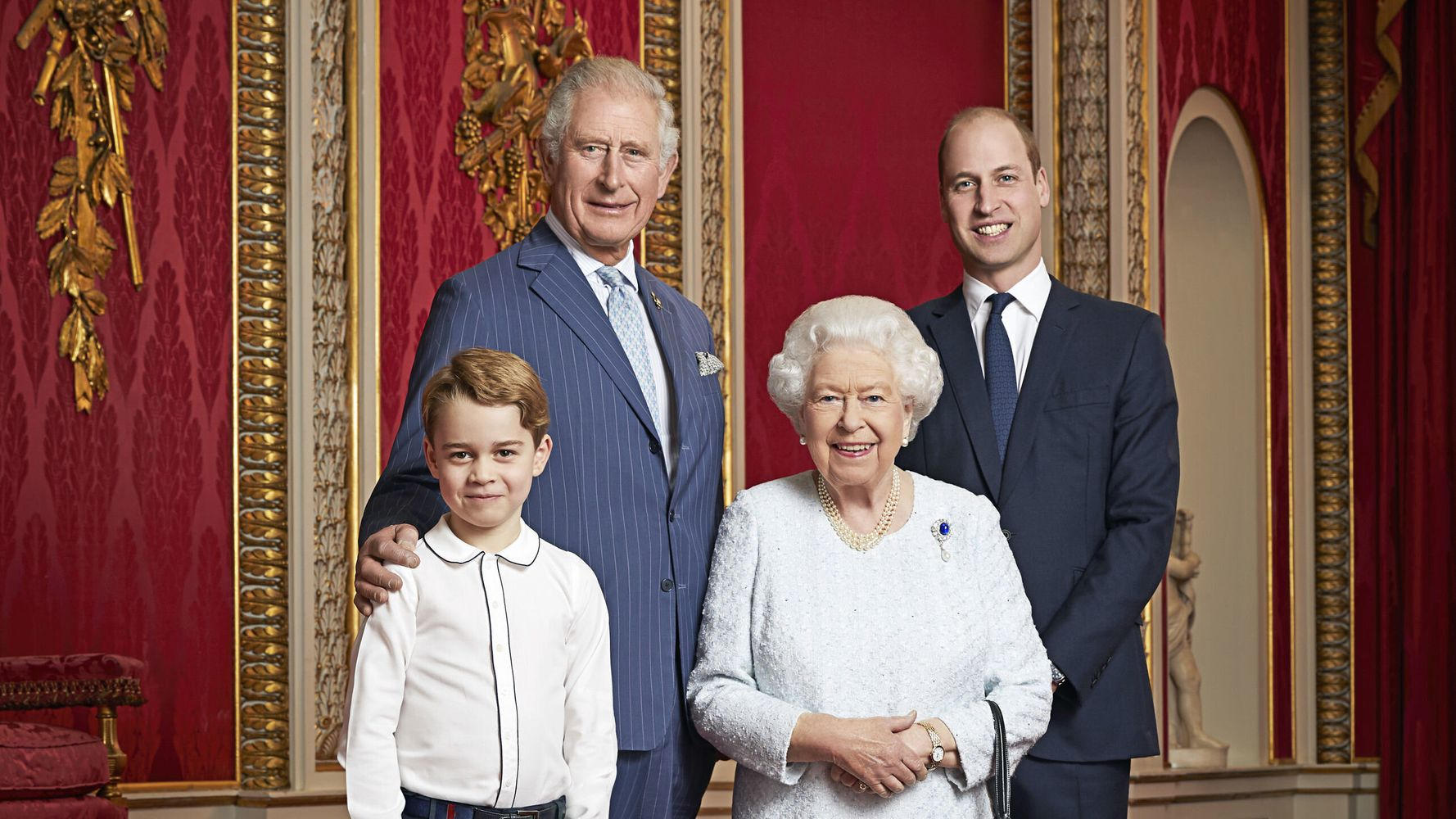 Prince George 'Grins' Alongside Prince William, Prince Charles And The Queen In New Portrait