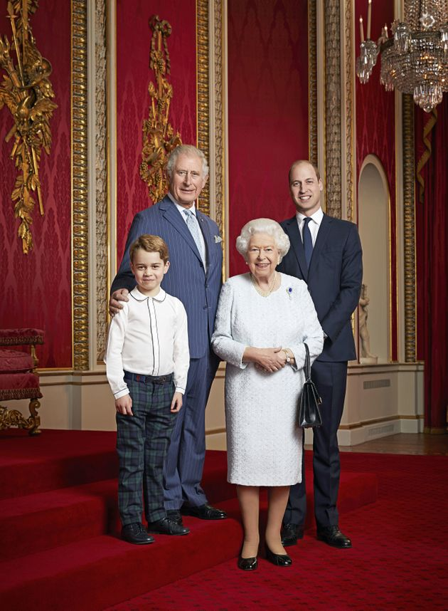 Prince George Grins Alongside Prince William, Prince Charles And The Queen In New Portrait