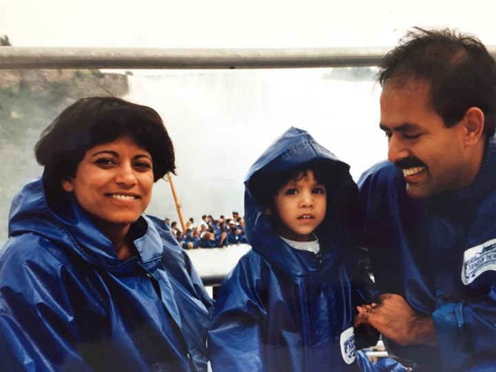 Ishani, centre, her mom, left and dad, at Niagara Falls, Ont.