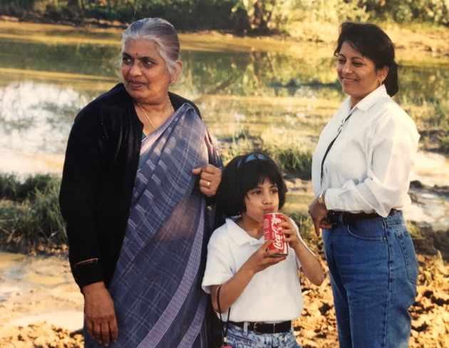 Ishani Nath's Nani, left, young Ishani, and her mum,