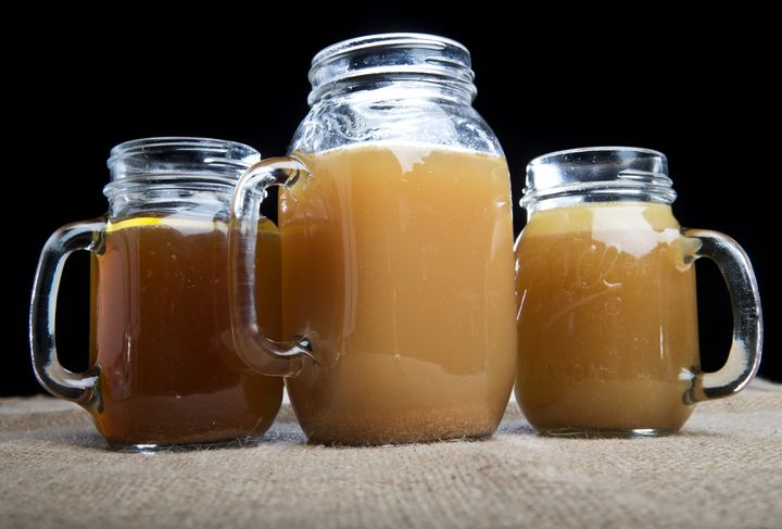 From left to right: Beef/chicken, chicken and beef bone broth.