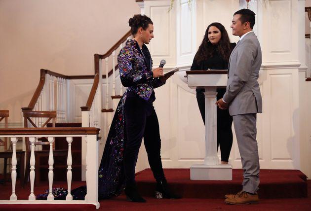 United Methodist Church minister Rev. Jordan Harris (right) and his partner Nathaniel Devarie are married...