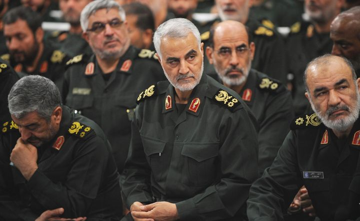 The Iranian Revolutionary Guards' Quds Force commander, Qassem Soleimani, center, on Sept. 18, 2016, during Ayatollah Ali Khamenei's meeting with Revolutionary Guards in Tehran. The U.S. confirmed Thursday that it carried out a strike that killed Soleimani in the Iraqi capital, Baghdad.