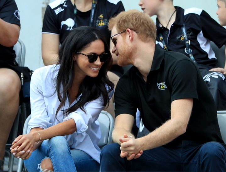 Prince Harry and Meghan Markle watching wheelchair tennis at the 2017 Invictus Games in Toronto, Canada.