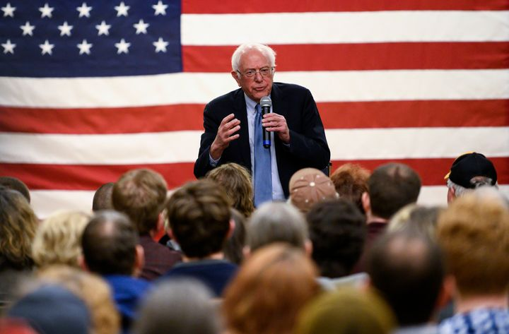 Sen. Bernie Sanders (I-Vt.) speaks in Anamosa, Iowa, on Friday. Before conducting a town hall, Sanders spoke out against the