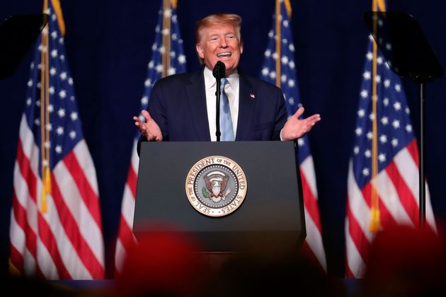 President Donald Trump speaks during a rally for evangelical supporters at the King Jesus International...
