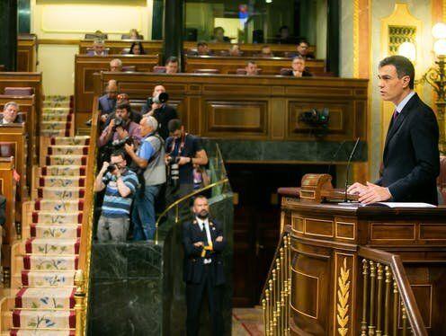 Pedro Sánchez comparece como presidente del Gobierno en el Pleno del Congreso de los Diputados...
