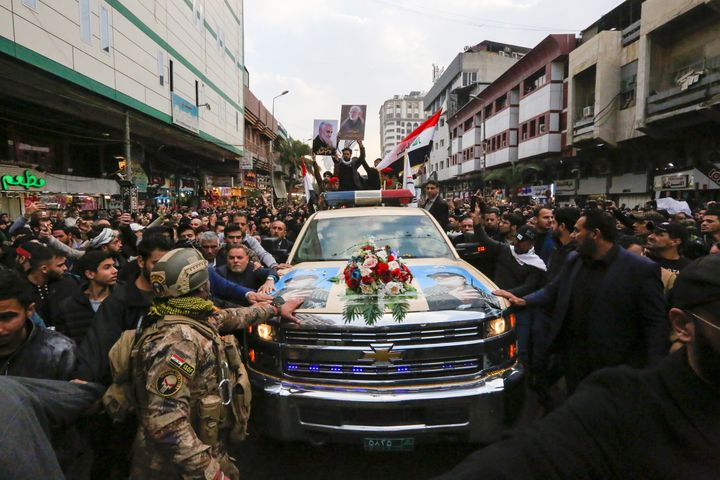 "Thousands of Iraqis chanting ""Death to America"" joined the funeral procession on Saturday."