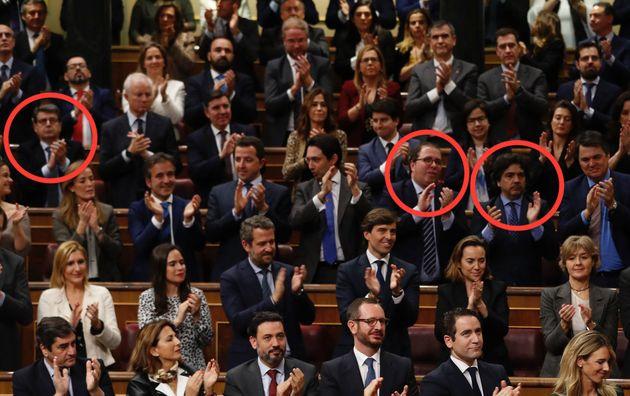 De izquierda a derecha, rodeados con un círculo rojo:Juan José Matarí, Alberto...