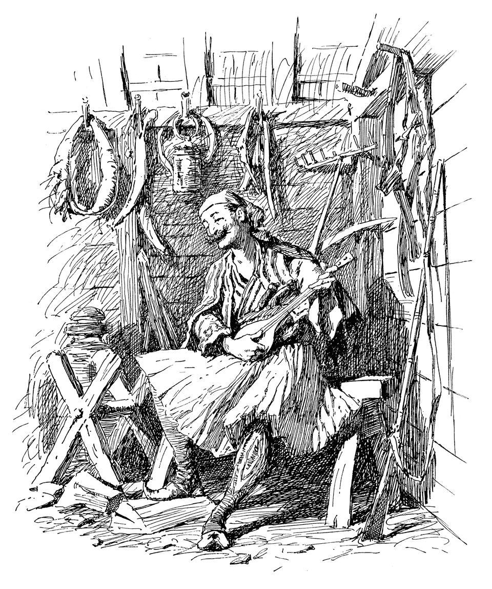 Greek man playing the Bouzouki - Scanned 1891