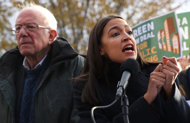Sen. Bernie Sanders and Rep. Alexandria Ocasio-Cortez introduce legislation as part of their Green New...