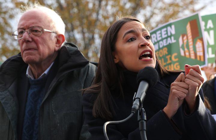Sen. Bernie Sanders and Rep. Alexandria Ocasio-Cortez introduce legislation as part of their Green New Deal proposal on Nov. 14, 2019 in Washington, DC.