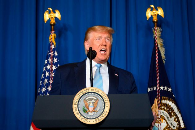 President Donald Trump makes a statement on Iran at the Mar-a-Lago estate in Palm Beach Florida, on Jan....