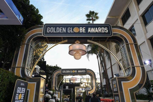General view of the red carpet set up at the Golden Globes 2020 at The Beverly Hilton, in Beverly Hills,...