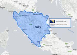 Questa è una mappa dell'Italia con sovrapposta la Bosnia. La superficie che sta bruciando,...