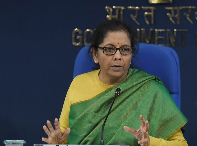 Union Finance Minister Nirmala Sitharaman addresses during a press conference after a cabinet meeting...