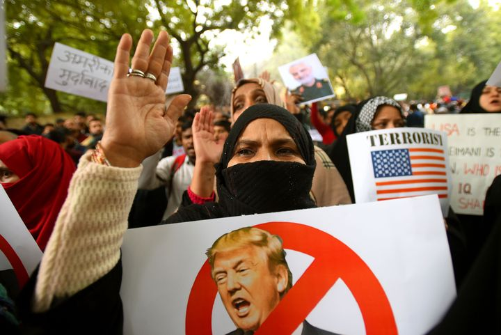 Demonstrators in New Delhi on Sunday, protesting the killing of Soleimani.