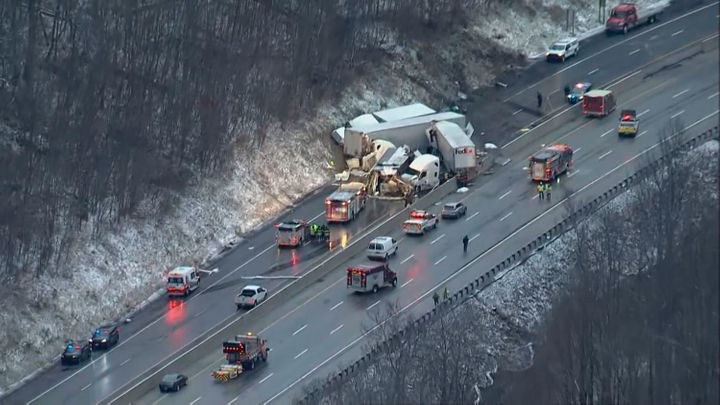 This image from video provided by KDKA TV shows the scene near Greensburg, Pa. along the Pennsylvania Turnpike where multiple