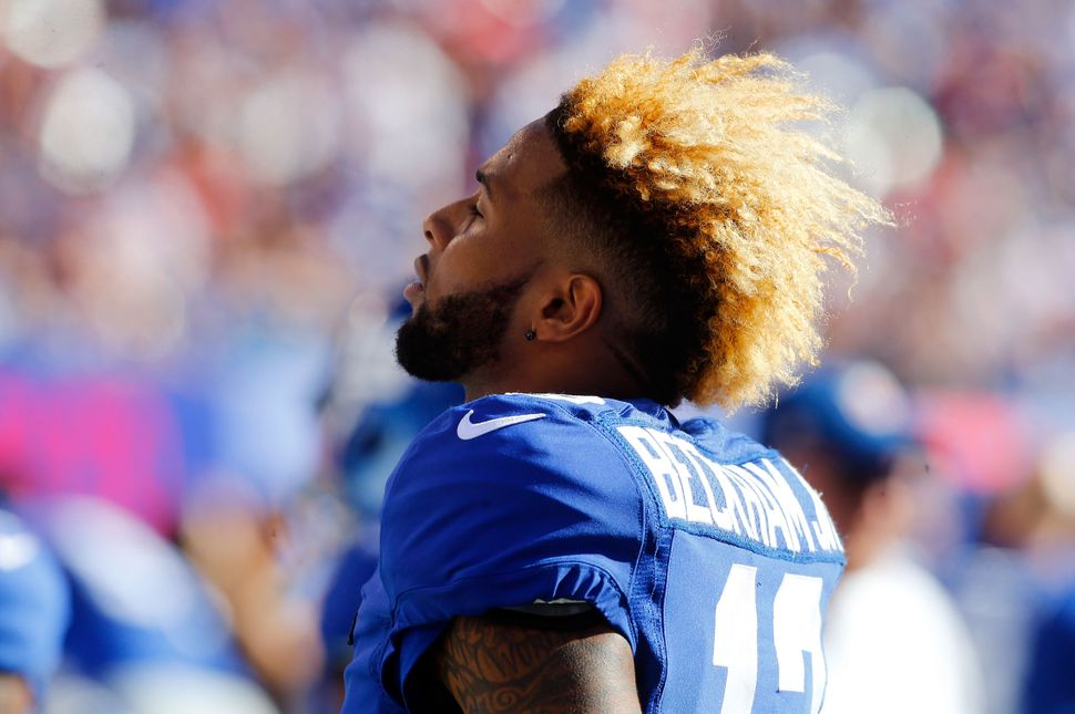 Odell Beckham, then with the New York Giants, looks on against the Atlanta Falcons on Sept. 20, 2015.