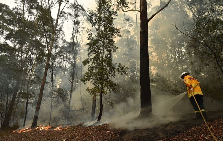 """A firefighter tackles a bushfire south of Nowra on January 5, 2020. - Australians on January 5 counted the cost from a day of catastrophic bushfires that caused """"extensive damage"""" across swathes of the country and took the death toll from the long-running crisis to 24."""