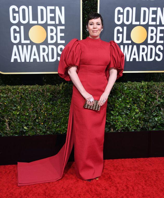 Olivia Colman on the Golden Globes red