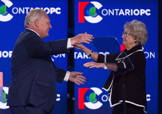 Doug Ford hugs his mother Diane after winning the Ontario Provincial election in Toronto, on June 7,