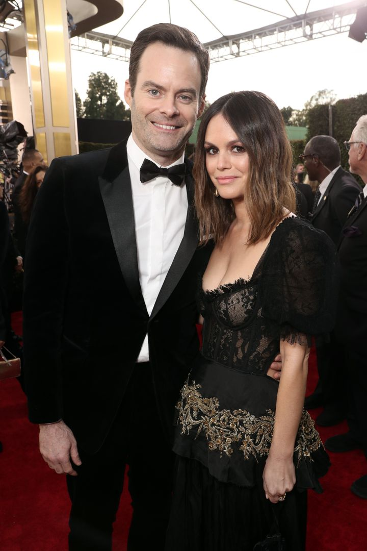 Bill Hader and Rachel Bilson arrive to the 77th Annual Golden Globe Awards held at the Beverly Hilton Hotel on January 5, 202