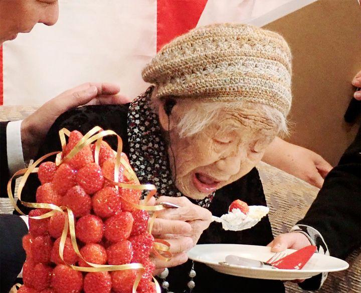 116세 생일에 케이크를 먹고 있는 다나카씨